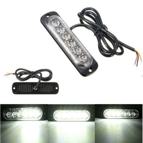 Feu de penetration signalisation flash 12/24V 18W à 6 LED de couleur blanc