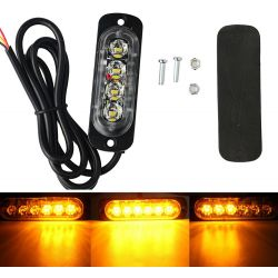 Feu de pénétration signalisation flash 12/24V 12W à 4LED - Orange