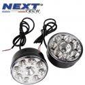Feux de jour rond 70mm 9 LED pour voiture, moto et quad - Next-Tech®