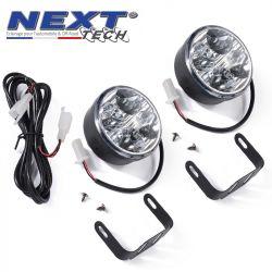 Feux de jour rond 65mm 4 LED pour voiture, moto et quad - Next-Tech®
