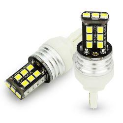 Veilleuses T20 LED ampoules CANBUS feux de jour W21/5W - blanc