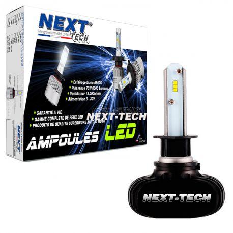 Ampoule LED moto H3 courtes 55W sans ventilateur - Next-Tech®