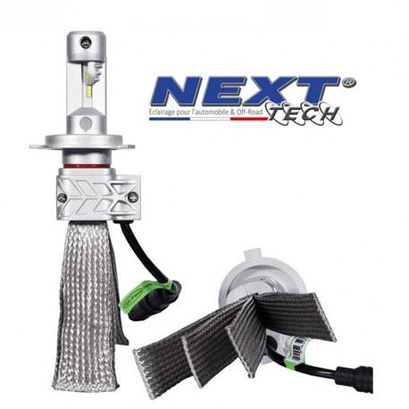 Ampoules LED H7 55W extra courtes - Tresse acier - Next-Tech®