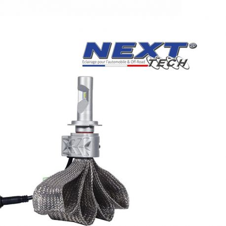 Ampoule moto LED H7 55W extra courte - Tresse acier - Next-Tech®