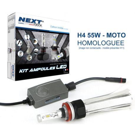 Ampoule LED moto H4 55W homologuée 6000lm Canbus - Next-Tech®