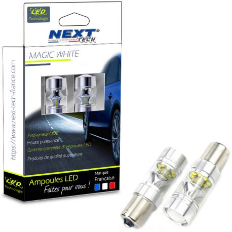 Ampoules LED PY21W BAU15S 35W 360° feu de stop - Rouge - Next-Tech®