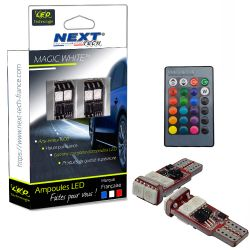 LED T10 W5W RGB 256 multicolor avec télécommande - Next-Tech®