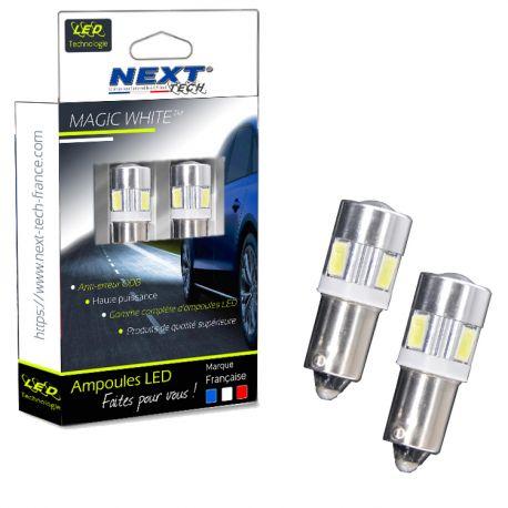 Ampoules H6W LED type BAX9S anti-erreur ODB - Blanc