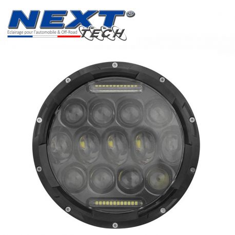 phare led rond 180mm 75w pour moto full led avec feux de jour noir. Black Bedroom Furniture Sets. Home Design Ideas