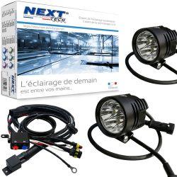 Phares LED moto NT-XP4 12V 50W haut de gamme noir avec câbles