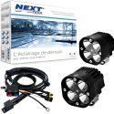 Feux LED moto carrés NT-CX4 12V 50W haut de gamme noir avec câbles