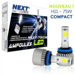 Ampoule moto ventilée H11 LED compacte 75W blanc - Next-Tech®