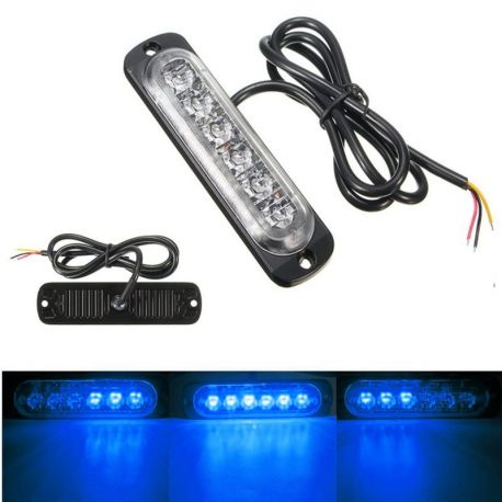 Feu de pénétration signalisation flash 12/24V 18W à 6 LED - Bleu