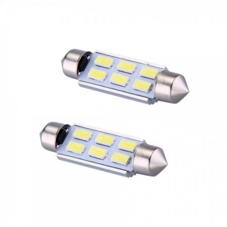 Veilleuses ampoules navette C10W à 6 Leds CANBUS