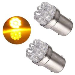 Ampoules P21W BA15S 1156 à 9 LED Orange